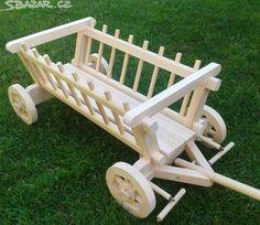 Masivní dřevěný žebřiňák (vozík), vhodný jako dekorace - obrázek číslo 1