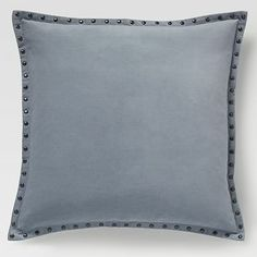 "Studded Velvet Pillow Cover – Dusty Blue (20"" Sq.) #westelm"
