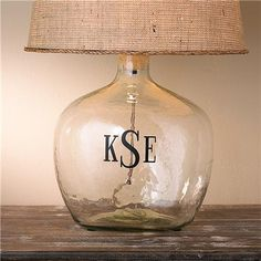 """3"""" Roman Block Monogram for Glass Table Lamps: Simply add this vinyl monogram to any of our glass table lamps for a customized look. Choose from White or Black Roman Block letters."""