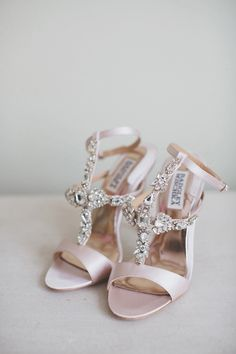Silk satin with crystal embellished t-strap Badgley Mischka bridal shoes // A Midsummer Night's Dream-Inspired Wedding with Two Paolo Sebastian Dresses {Facebook and Instagram: The Wedding Scoop}