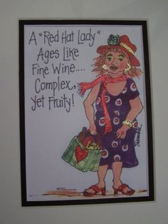 A Red Hat Lady Ages Like Fine Wine -Complex Yet Fruity print, magnet or Greeting card-Red hat lady sign, sassy saying, glittery art, red hat greeting card, girlriend gift, silly birthday card