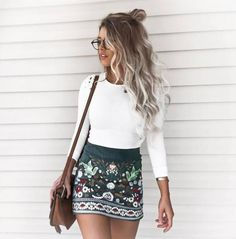 Full Sleeve White Top/Black Embroidered Short Skirt Ethnic Floral A-Line Skirt - Black PRODUCT DESCRIPTIONMaterial: Polyester  Length: Mini  Silhouette: A-Line  Pattern Type: Floral  Season: Fall,Spring