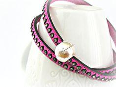 Fuchsia double wrapped leather bracelet with Swarovski strass by TyssHandmadeJewelry, $29.90