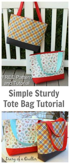 Here's yet another FREE pattern and tutorial that Sew Modern Bags has found for you. This one is an absolute beautiful tote bag called the Simple Sturdy Tote Bag. #FreeSewingPattern #FreeBagPattern #ToteBagPattern #FreeToteBagPattern