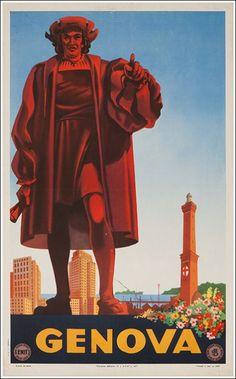 1947 Genoa, Liguria Italy vintage travel poster