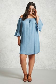 Forever 21+ - A chambray shift dress featuring an elasticized off-the-shoulder neckline and 3/4 sleeves with flared cuffs.