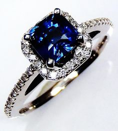 Blue Sapphire Ring, GIA G. G Certified 14 kt White Gold 1.11 ct Cushion Cut Blue Sapphire Setting - GIA G. G Appraisal Value $5,550.30 see this sapphire ring at wholesale.