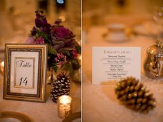 Pink and Gold Glam Winter Wedding, Instead of printing menus for each place setting, print a standing menu card or two per table and incorporate your theme/season/centerpiece