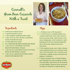 Try this new twist on a classic this holiday season. Cook Off, Green Bean Casserole, Potato Chips, Twists, No Cook Meals, Casseroles, Green Beans, Side Dishes, Yummy Food