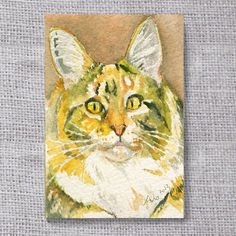 Cat Original ACEO painting buy 3 get 1 free by asho on Etsy, $4.20