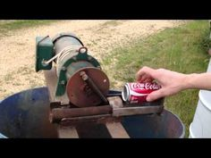 This is a can crusher that I made about 15 years ago using a pitman drive idea