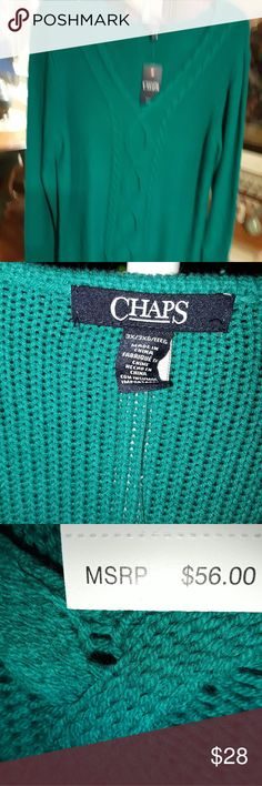 Woman's v-neck cable design teal sweater size 3x Beautiful vibrant teal colored v-neck sweater with heavy cable design down front that's perfect for fall or winter wear. Deep v-neck shows cleavage if worn without shirt. Chaps makes a great product. Chaps Sweaters V-Necks