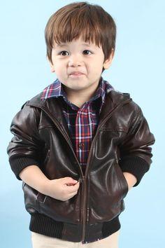 Boys Hooded Leather Jacket #KID-232 http://www.e-leatherjackets.com/412/boys-hooded-leather-jacket