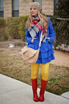 Winter outfit idea with red wellies.
