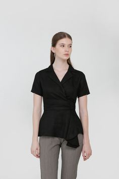 Overlap Drapery Top in Black Affordable Fashion, Drapery, Ready To Wear, Peplum, Normcore, Spring, How To Wear, Clothes, Black