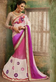 Beautiful !Off White And Pink #Chiffon And #Net Saree designed with Zari, Resham Embroidery and patch patta Work. As shown Cream #Dhupion Blouse fabric is available which can be customized as per requirements.  With exciting Flat 30% discount! INR :-3689