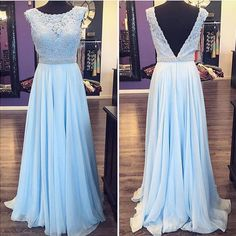 A476 lace appliqued with beaded chiffon long prom dresses,sky blue formal dresses