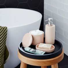 For easy storage and organisation, our bath accessories will do the trick, crafted in modern designs to complement any bathroom. These blush pink ceramic coloured soap dispenser and dish will help  you get rid of all that clutter || Cotton On || 2017 || CO:HOME
