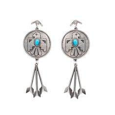 Cher's Thunderbird Earrings: Southwestern Thunderbird and arrow drop earrings in turquoise. #The2BanditsXNudie #The2Bandits