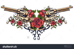 vector illustration of guns on the flower and ornaments floral with tattoo drawing style , Rose Vine Tattoos, Flower Tattoos, Bird Drawings, Tattoo Drawings, Guns And Rouses, Rock And Roll, Chest Piece Tattoos, Tummy Tuck Tattoo, Gothic Tattoo