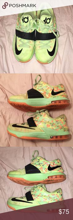 Nike Kd Easter edition 7's Camo neon print with adjustable black Kd Velcro strap on top of laces with a little touching up they'll look brand new!  Always willing to negotiate prices! Nike Shoes Athletic Shoes