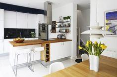 Kitchen - Authentic Kitchen Cabinet Ideas With Wooden Kitchen Backsplash And White Curvy Chairs Also Wine Shelves Also Stainless Steel Furni...