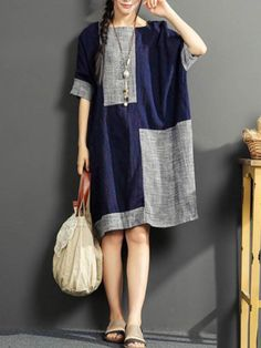 Vintage Patchwork Short Sleeve O-neck Dresses For Women Patchwork Dress 030f82e17815