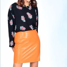 Vintage lamb leather skirt Soft as this baby can be and a vibrant orange killer, shirt also vintage floral rose.. Looks awesome together great skirt Vintage Skirts