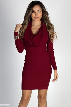 1f81afe5cf Long Sleeve Bodycon Burgundy Cowl Neck Sweater Dress Cute Casual Dresses