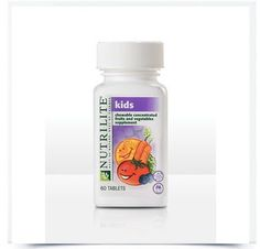 """NUTRILITE® Kids Chewable Concentrated Fruits and Vegetables - 60 Count by Nutrilite. $22.99. For the times when you can't or don't eat the recommended 5 to 9 servings a day of fresh fruits and vegetables. Your kids will be saying, """"Don't forget the fruits and veggies!"""" Benefits A child's 2-tablet daily serving of Chewable Concentrated Fruits and Vegetables includes the: Lycopene of 1/2 tomato Lutein of 1/2 cup of raw spinach Quercetin of 21/2 apples Ellagic ac..."""