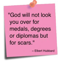 GOD will try his hardest to keep you from getting scars but when you get them he will try his hardest to soothe you!!!<3