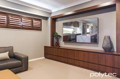 Study and Entertainment / Photo Gallery / Polytec Oxley Walnut Master Suite, Master Bedroom, Tv Storage Unit, Media Unit, Entertainment Ideas, Kitchen Photos, Modern Classic, Photo Galleries, Coastal
