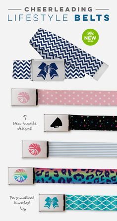 Only the cutest Cheerleading Lifestyle Belts. Personalize the buckles with a monogram or select your favorite color!