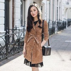 Fall outfit idea: A suede coat over a delicate dress; the designer bag is the prefect finishing touch. See more on ShopStyle.com!