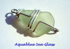 Wire Wrapped   Sea Glass  For  Pendant Link by aquablueseaglass, $14.00