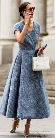 Chic Parisienne. Beautiful! I really love this. I could do: - this dress but as a mini with these shoes, bag and sunglasses Or - a coat in this grey tweed material and cut, with skinny black jeans, that bag, those sunglasses, and Silver metallic lace up shoes The possibilities are endless - this is a beautifully chic yet modern colour cut and fabric scheme