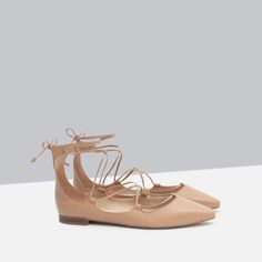 ZARA - COLLECTION AW15 - TIE-UP LEATHER BALLERINAS