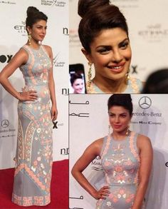 ad3676824baa Priyanka Chopra was recently wearing a Pankaj and Nidhi outfit on the red  carpet in Abu Dhabi attending the film festival there.