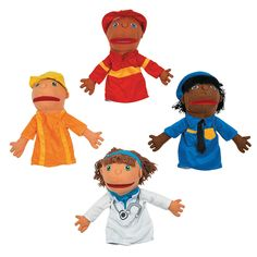 Plush Happy Kids Career Hand Puppets Set 1 - OrientalTrading.com