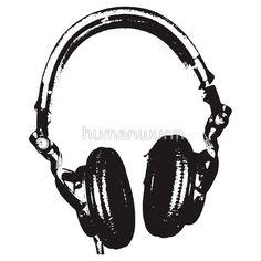 DJ Headphones Stencil Style