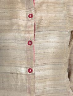 Beige-Maroon Tussar Gicha Kurta with Pockets by Jaypore