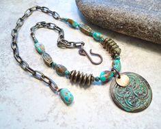 Verdigris Turquoise Pendant Necklace Antique Brass by Jewelbox2, $26.00