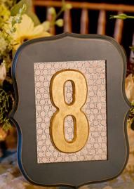 Unique framed table number by @Lesley Arnould Weddings Amanda Taylor. Photo by @Kalee Hughes Ridings Photography. #wedding #tablenumber #rustic #gold
