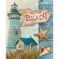 To The Beach Canvas Art - Conrad Knutsen x Beach Canvas Art, Seaside Art, Lighthouse Painting, Beach Cards, Sea Crafts, Beach Cottage Decor, Nautical Art, Sea Theme, Sea Art