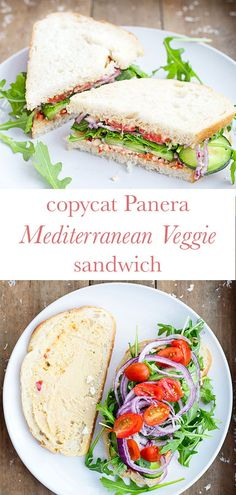You don& have to choose a half sandwich with this Panera copycat Mediterranean Veggie Sandwich. Loaded with hummus, feta, cucumbers, tomato, and red onion. Vegetarian Sandwich Recipes, Vegetarian Lunch, Veggie Recipes, Lunch Recipes, Whole Food Recipes, Healthy Recipes, American Sandwich Recipes, Going Vegetarian, Vegetarian Dinners