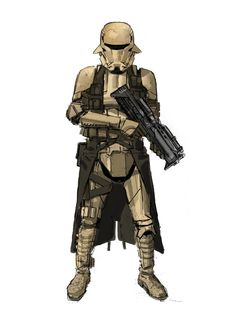 The Art of Rogue One: A Star Wars Story // Trooper With Kilt Version 3 by Glyn Dillon Rpg Star Wars, Star Wars Books, Star Trek, Rogue One Star Wars, Star Wars Characters Pictures, Arte Cyberpunk, Star Wars Design, Movies And Series, Star Wars Concept Art