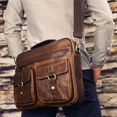 The Courier - Men's Leather Messenger Briefcase