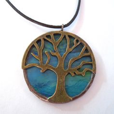 Big Tree of Life Pendant - Blue Stained Glass Necklace