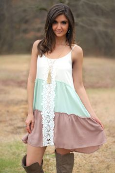 Entro Off White, Mint, and Mocha Tiered Dress with Floral Crochet Detail