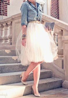 Marcus Design: {holiday fashion: the tulle skirt} I LOVE denim and tulle!!!!